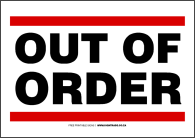 Bathroom out of order sign